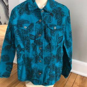 Chico's turquoise w/black print denim jacket, 12